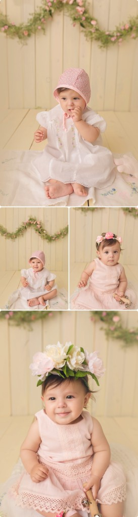milestone baby girl session, sitter session, vintage